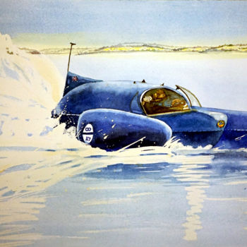 """Painting titled """"Breaking the Record…"""" by Scally Art, Original Art, Watercolor"""