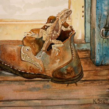 """Painting titled """"Old Boot and Lizard…"""" by Scally Art, Original Art, Watercolor"""