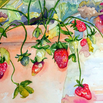 """Painting titled """"Strawberries"""" by Scally Art, Original Art, Watercolor"""
