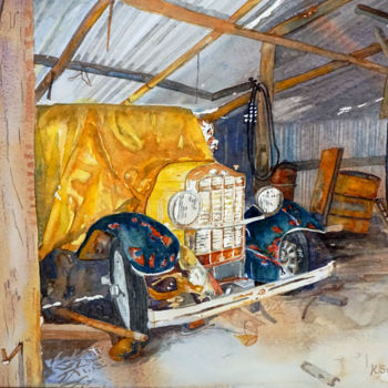 """Painting titled """"'Man shed'"""" by Scally Art, Original Art, Watercolor"""