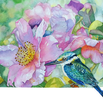 """Painting titled """"Kingfisher with Cam…"""" by Scally Art, Original Art, Watercolor"""