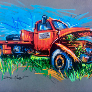 """Drawing titled """"Camionnette abandon…"""" by Serge Mazet, Original Art, Acrylic"""