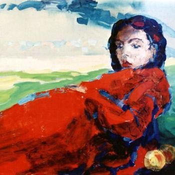 """Painting titled """"Girl with Peaches"""" by Sergej Jakovlev, Original Art, Oil"""