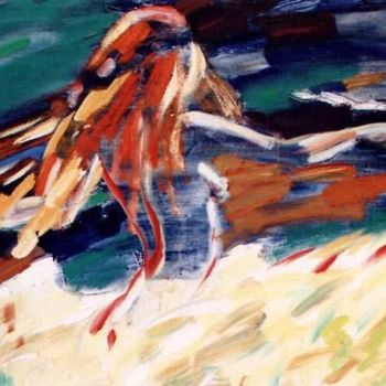 """Painting titled """"Running by the Field"""" by Sergej Jakovlev, Original Art, Oil"""