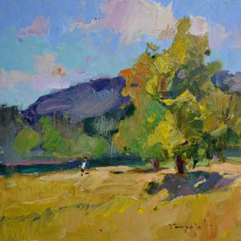 """Painting titled """"At the river _ oil…"""" by Alexander Shandor, Original Art, Oil"""