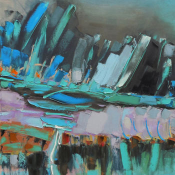 """Painting titled """"Night Mountains"""" by Andria Shengelia, Original Art, Oil"""