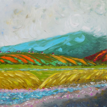 """Painting titled """"Mtirala mountain"""" by Andria Shengelia, Original Art, Oil Mounted on Stretcher frame"""