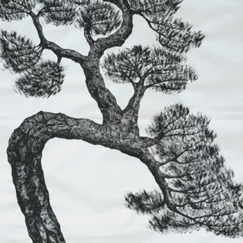 """Painting titled """"pine tree1"""" by So Hyon Kim, Original Art, Ink"""