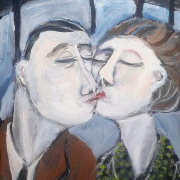 """Painting titled """"kiss"""" by Simon Taylor, Original Art,"""