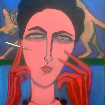 """Painting titled """"red gloves (2)"""" by Simon Taylor, Original Art,"""