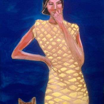 """Painting titled """"woman & dog 2"""" by Simon Taylor, Original Art,"""