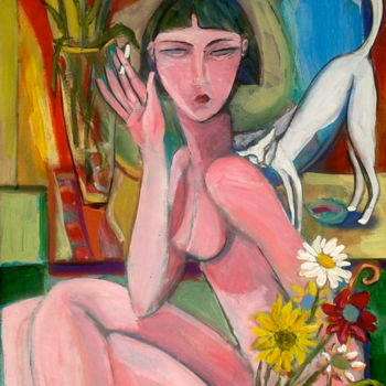 """Painting titled """"woman/flowers"""" by Simon Taylor, Original Art,"""