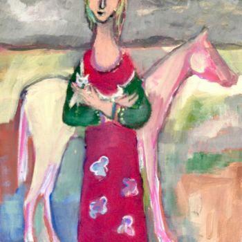 """Painting titled """"girl,dog,horse"""" by Simon Taylor, Original Art,"""