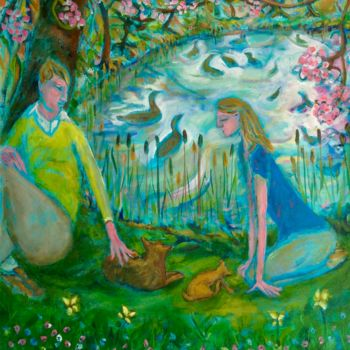"""Painting titled """"spring pond"""" by Simon Taylor, Original Art,"""