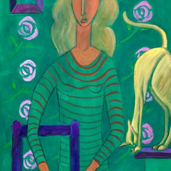 """Painting titled """"cat woman 2"""" by Simon Taylor, Original Art,"""