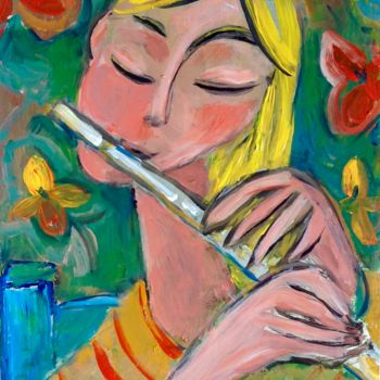 """Painting titled """"flute"""" by Simon Taylor, Original Art, Acrylic"""