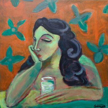 """Painting titled """"woman in thought"""" by Simon Taylor, Original Art, Acrylic"""