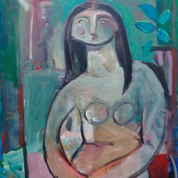 """Painting titled """"woman seated"""" by Simon Taylor, Original Art, Acrylic"""