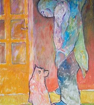 """Painting titled """"man and dog"""" by Simon Taylor, Original Art,"""