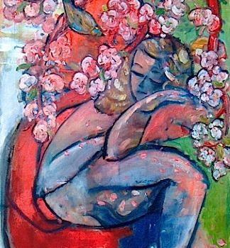 """Painting titled """"Girl under Cherry t…"""" by Simon Taylor, Original Art,"""
