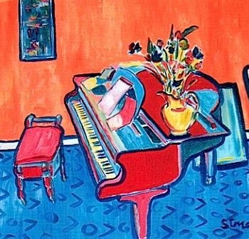 """Painting titled """"Piano"""" by Simon Taylor, Original Art,"""
