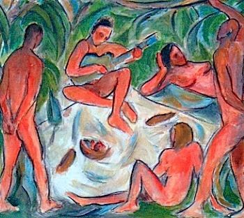 """Painting titled """"Figures"""" by Simon Taylor, Original Art,"""