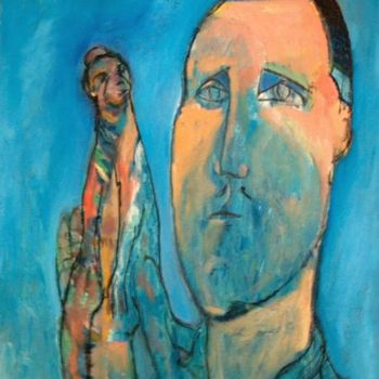 """Painting titled """"Man and Monkey"""" by Simon Taylor, Original Art,"""