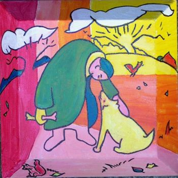 """Painting titled """"man and Dog 4"""" by Simon Taylor, Original Art,"""