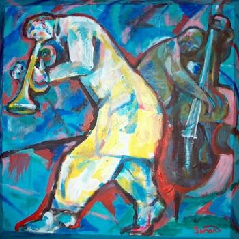 """Painting titled """"Jazz Duo 7"""" by Simon Taylor, Original Art,"""