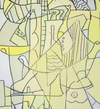 """Drawing titled """"Cubist Drawing"""" by Simon Taylor, Original Art,"""