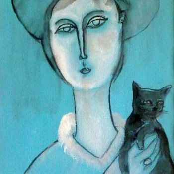 """Painting titled """"woman and cat -4"""" by Simon Taylor, Original Art, Oil"""