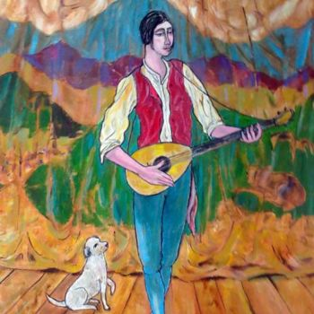 """Painting titled """"minstrel and dog"""" by Simon Taylor, Original Art,"""