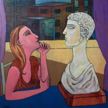 """Painting titled """"Woman and statue"""" by Simon Taylor, Original Art, Other"""