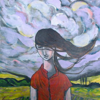 """Painting titled """"Girl & storm clouds"""" by Simon Taylor, Original Art, Other"""