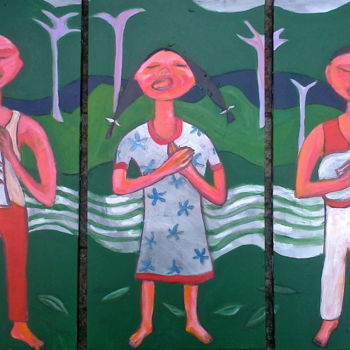 """Painting titled """"song ( tryptic )"""" by Simon Taylor, Original Art,"""