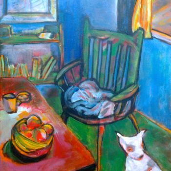 """Painting titled """"Interior with dog"""" by Simon Taylor, Original Art,"""