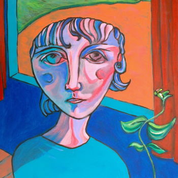 """Painting titled """"girl at window"""" by Simon Taylor, Original Art,"""