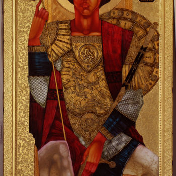 """Painting titled """"St. George on the t…"""" by Stefan Georgiev, Original Art, Acrylic"""