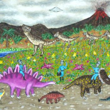 """Painting titled """"Dinosaur Procession"""" by Stephen Warde Anderson, Original Art, Acrylic Mounted on Other rigid panel"""