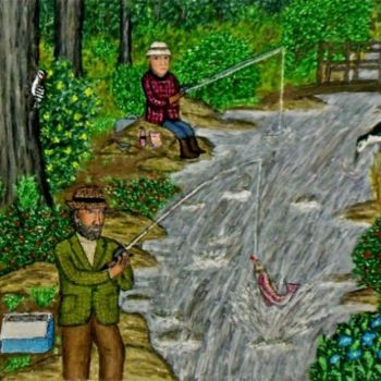 """Painting titled """"Fishy in the Brook"""" by Stephen Warde Anderson, Original Art, Acrylic Mounted on Other rigid panel"""