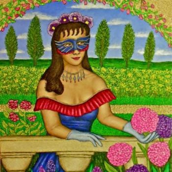 """Painting titled """"Masked Diva - Raffa…"""" by Stephen Warde Anderson, Original Art, Acrylic Mounted on Other rigid panel"""