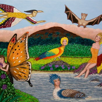 """Painting titled """"Isle of Winged Women"""" by Stephen Warde Anderson, Original Art, Acrylic Mounted on Other rigid panel"""