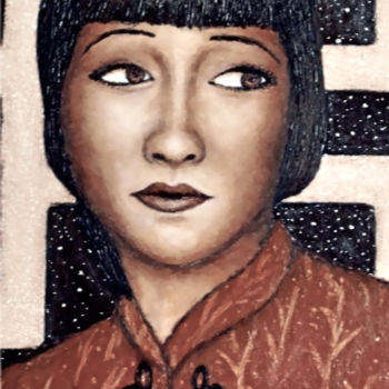 """Painting titled """"Anna May Wong"""" by Stephen Warde Anderson, Original Art, Acrylic Mounted on Other rigid panel"""