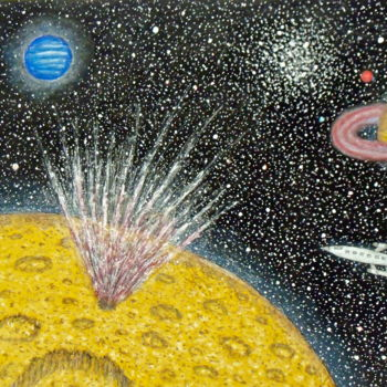 """Painting titled """"Meteor Strike"""" by Stephen Warde Anderson, Original Art, Acrylic Mounted on Other rigid panel"""