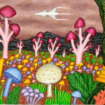 """Painting titled """"Planet of the Mushr…"""" by Stephen Warde Anderson, Original Art, Acrylic Mounted on Other rigid panel"""