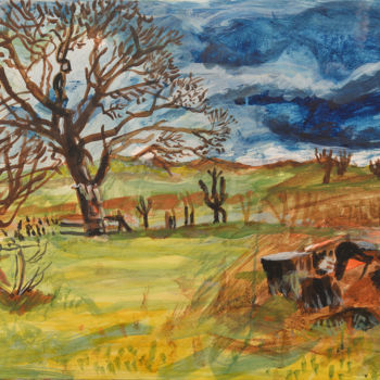 """Painting titled """"Sycamores and Felle…"""" by Stephen West, Original Art, Tempera"""
