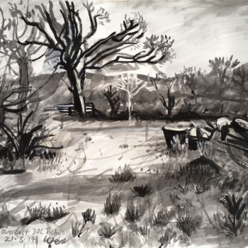 """Drawing titled """"Overcast Dolpebyll"""" by Stephen West, Original Art, Ink"""