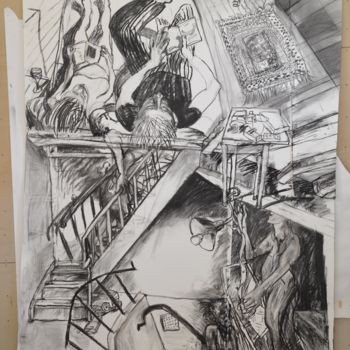 """Drawing titled """"Three Dwellings"""" by Stephen West, Original Art, Charcoal"""