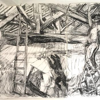 """Drawing titled """"Incident in an Attic"""" by Stephen West, Original Art, Charcoal"""