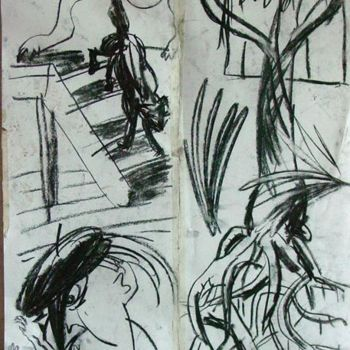 """Drawing titled """"Letting the Cat In"""" by Stephen West, Original Art, Other"""